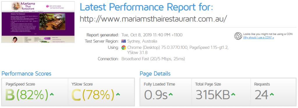 Old website performance